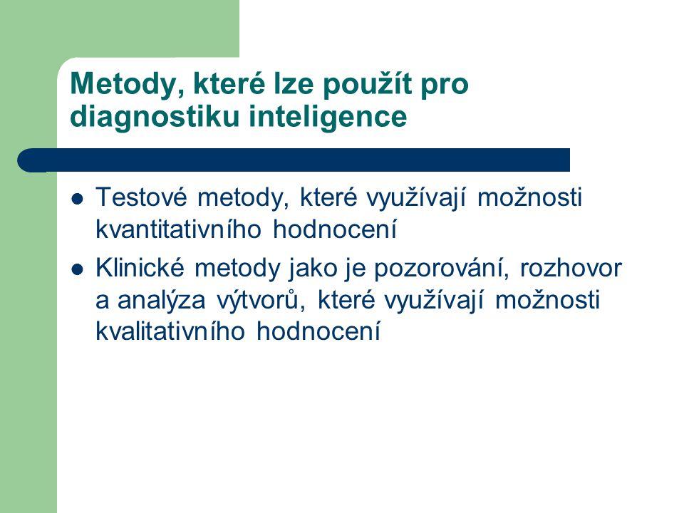 Metody, které lze použít pro diagnostiku inteligence