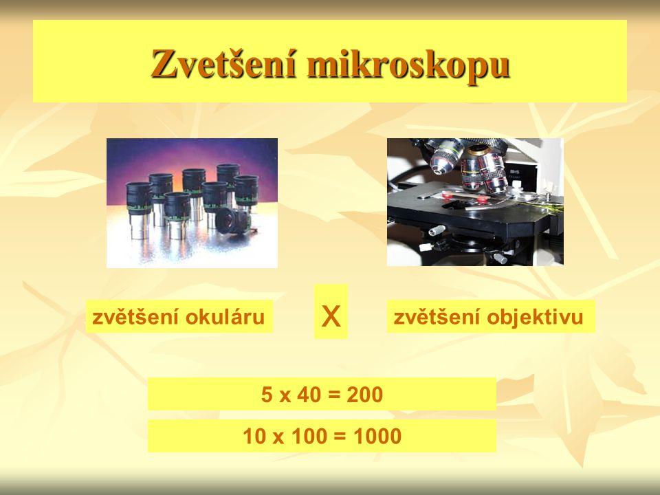 Zvetšení mikroskopu x zvětšení okuláru zvětšení objektivu 5 x 40 = 200