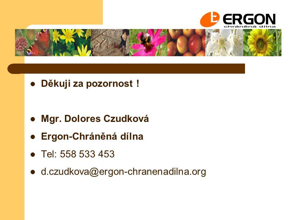 Děkuji za pozornost . Mgr. Dolores Czudková. Ergon-Chráněná dílna.