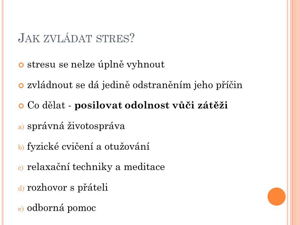 Jak zvládat stres stresu se nelze úplně vyhnout