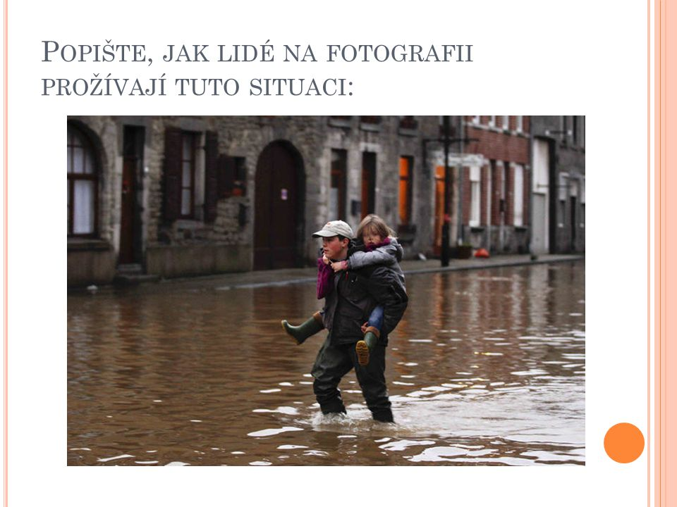 Popište, jak lidé na fotografii prožívají tuto situaci: