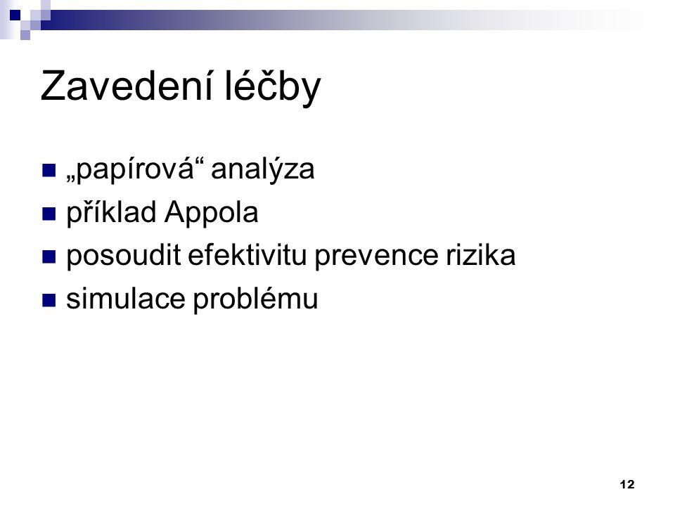 """Zavedení léčby """"papírová analýza příklad Appola"""