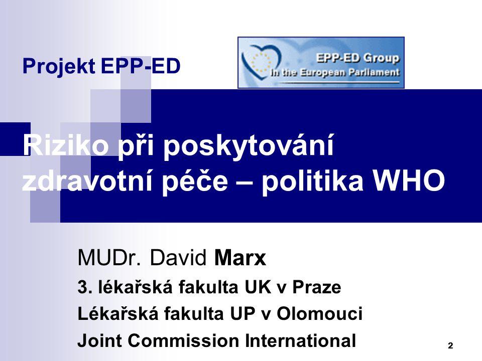 Projekt EPP-ED Riziko při poskytování zdravotní péče – politika WHO