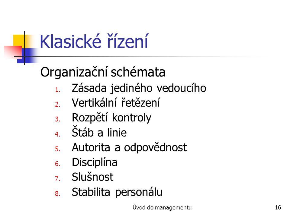 Klasické řízení Organizační schémata Zásada jediného vedoucího