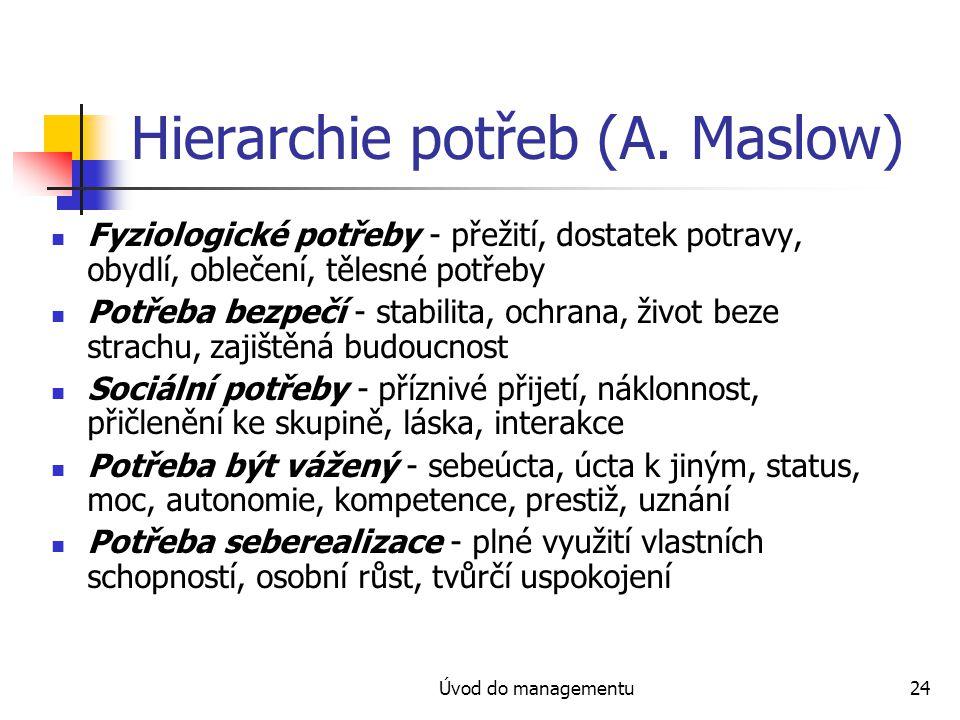 Hierarchie potřeb (A. Maslow)