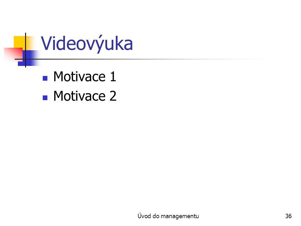 Videovýuka Motivace 1 Motivace 2 Úvod do managementu