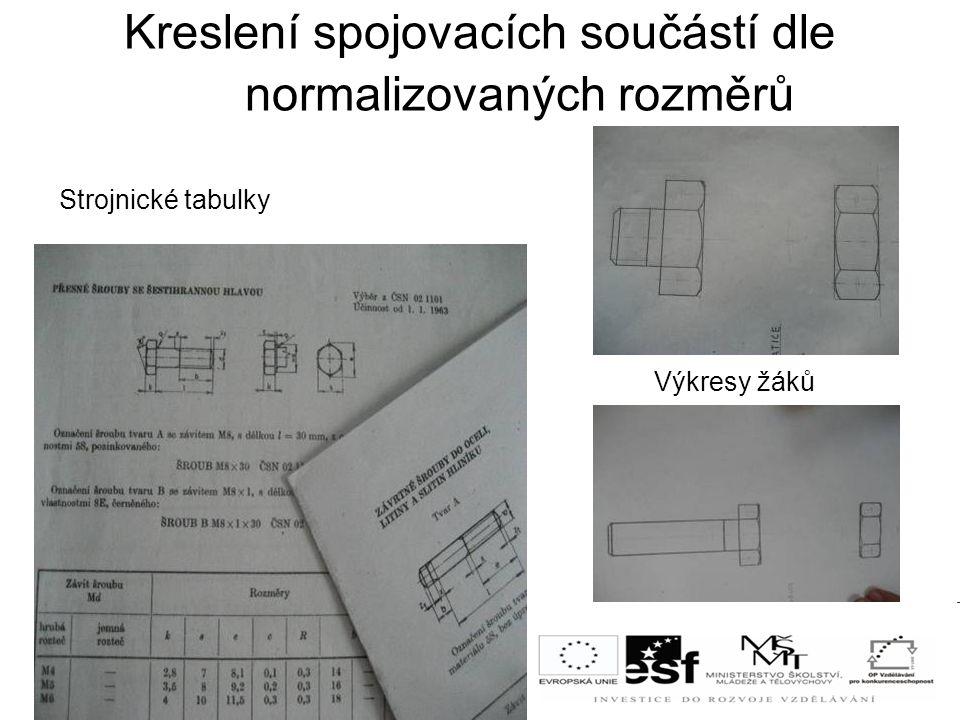Kreslení spojovacích součástí dle normalizovaných rozměrů