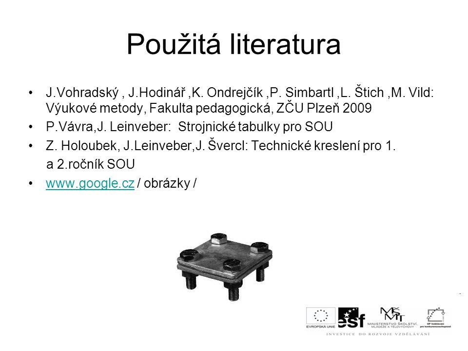 Použitá literatura J.Vohradský , J.Hodinář ,K. Ondrejčík ,P. Simbartl ,L. Štich ,M. Vild: Výukové metody, Fakulta pedagogická, ZČU Plzeň 2009.