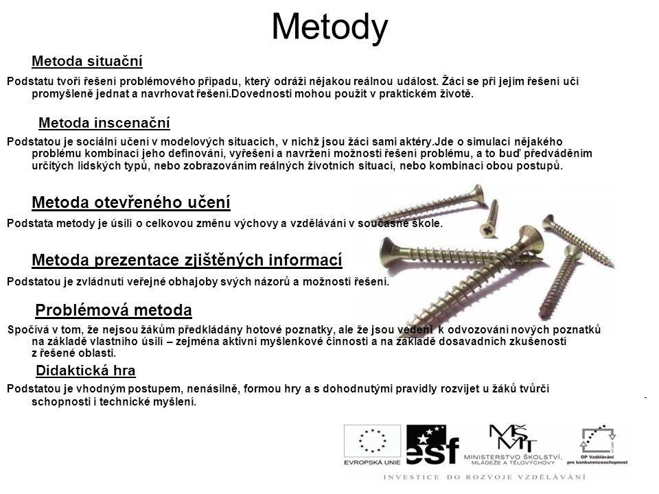Metody Metoda situační Metoda otevřeného učení