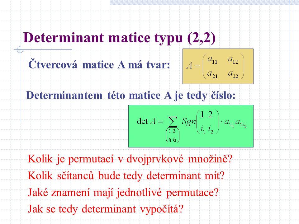 Determinant matice typu (2,2)
