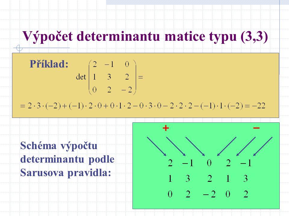 Výpočet determinantu matice typu (3,3)