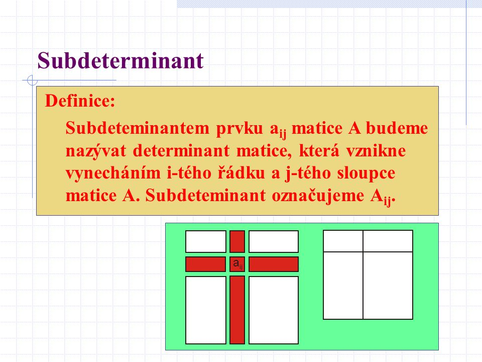 Subdeterminant Definice: