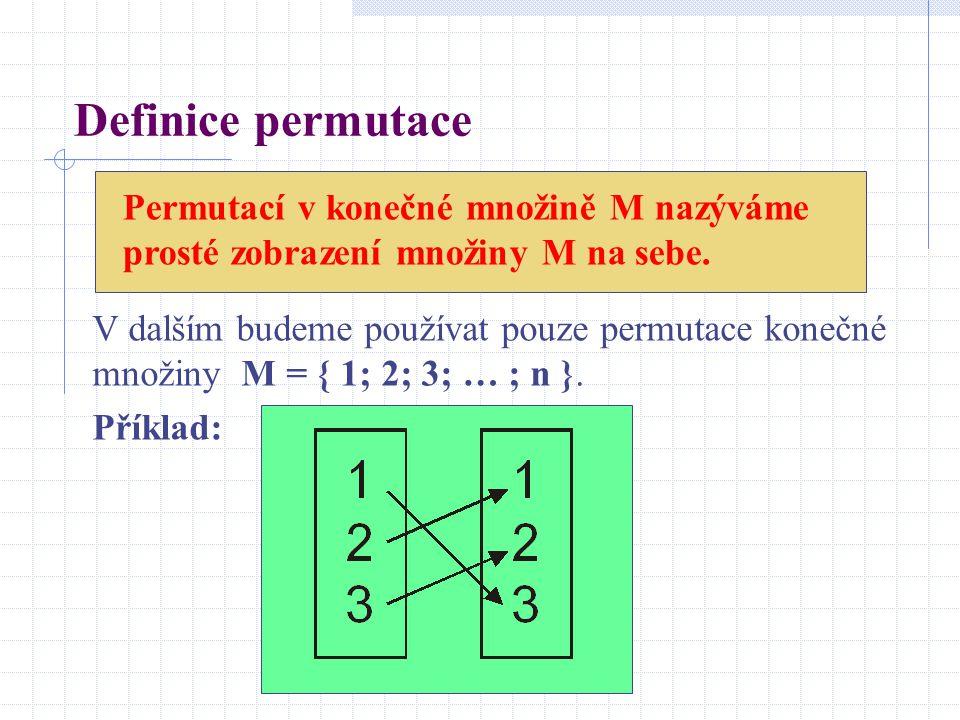 Definice permutace Permutací v konečné množině M nazýváme prosté zobrazení množiny M na sebe.