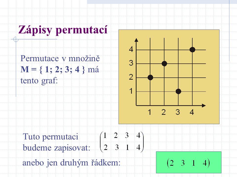 Zápisy permutací Permutace v množině M = { 1; 2; 3; 4 } má tento graf: