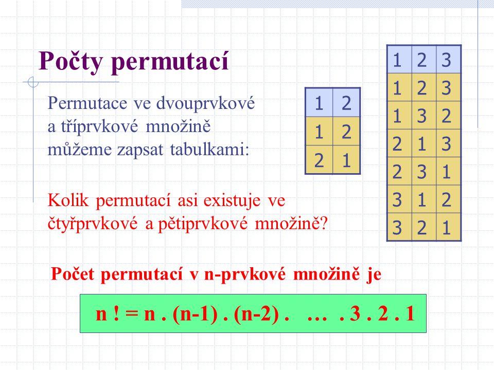 Počty permutací 1. 2. 3. Permutace ve dvouprvkové a tříprvkové množině můžeme zapsat tabulkami: 1.