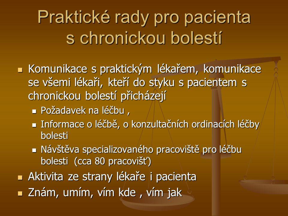 Praktické rady pro pacienta s chronickou bolestí