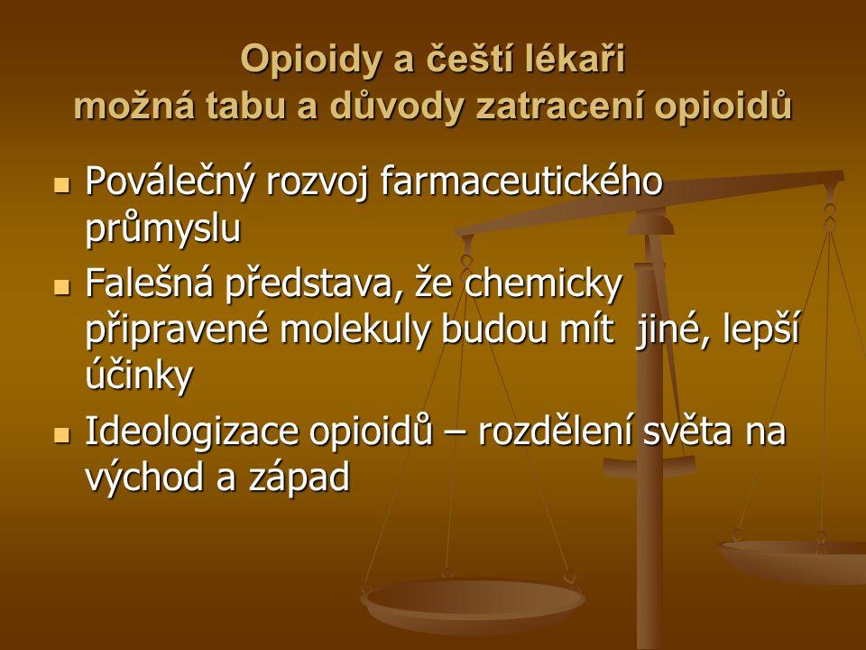 Opioidy a čeští lékaři možná tabu a důvody zatracení opioidů