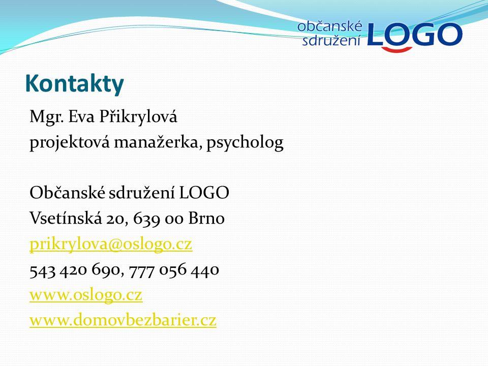 Kontakty Mgr. Eva Přikrylová projektová manažerka, psycholog