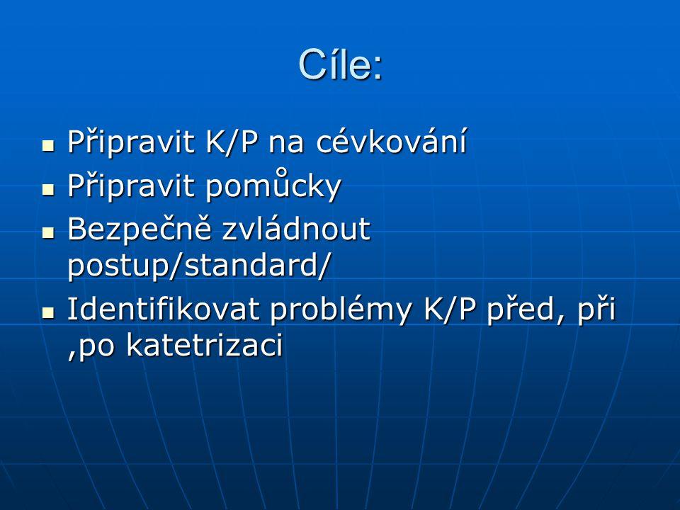 Cíle: Připravit K/P na cévkování Připravit pomůcky