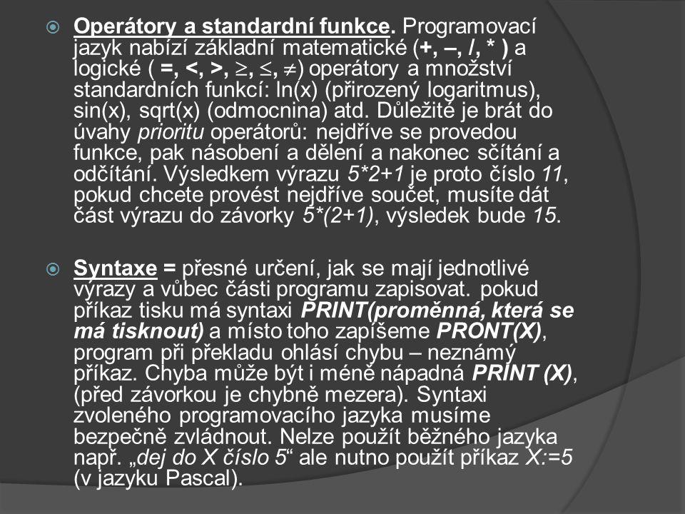 Operátory a standardní funkce