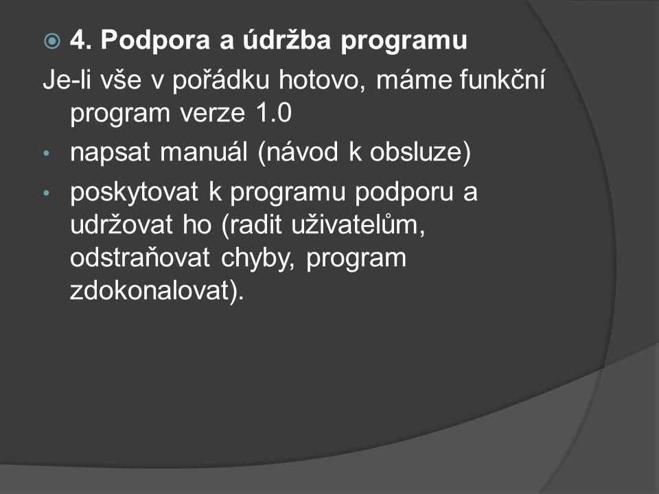 4. Podpora a údržba programu