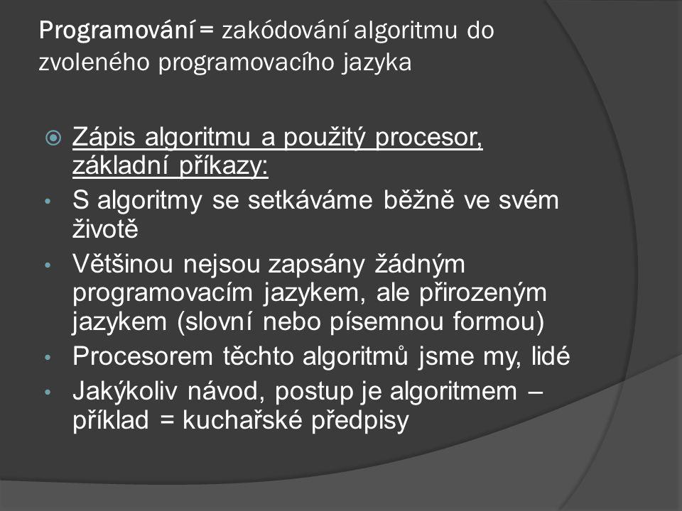 Programování = zakódování algoritmu do zvoleného programovacího jazyka