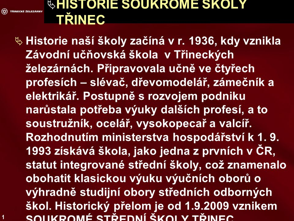 HISTORIE SOUKROMÉ ŠKOLY TŘINEC
