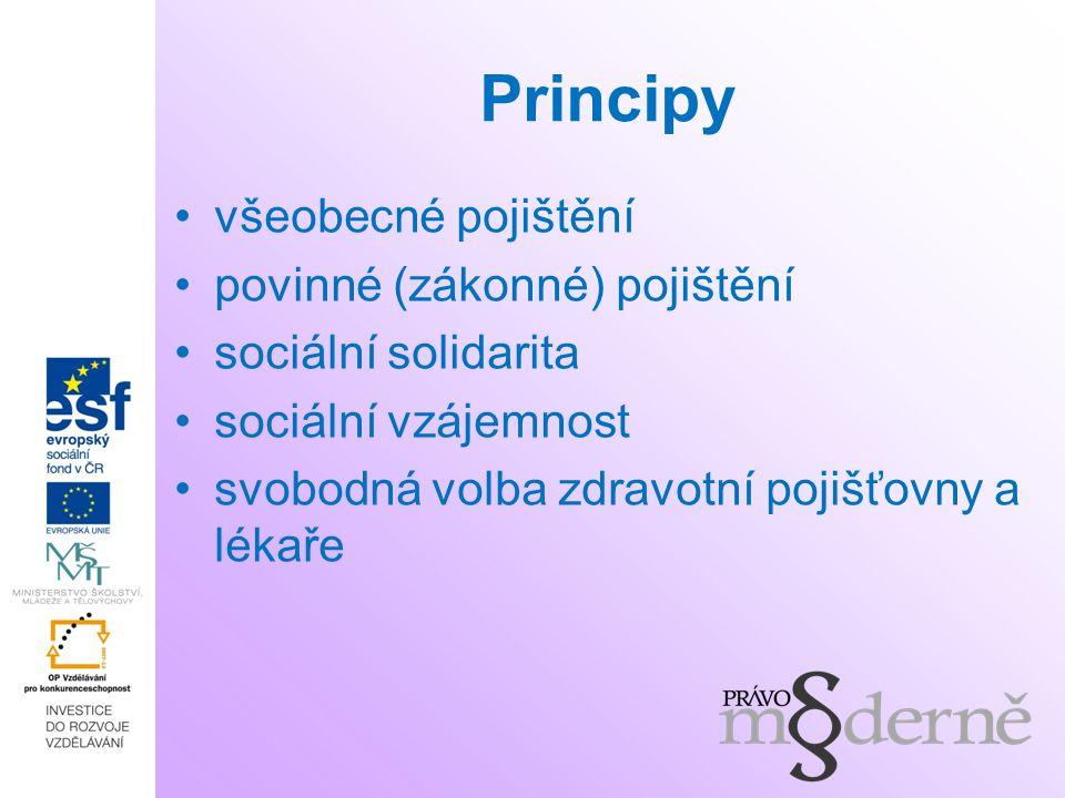 Principy všeobecné pojištění povinné (zákonné) pojištění