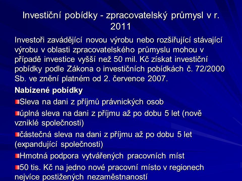 Investiční pobídky - zpracovatelský průmysl v r. 2011