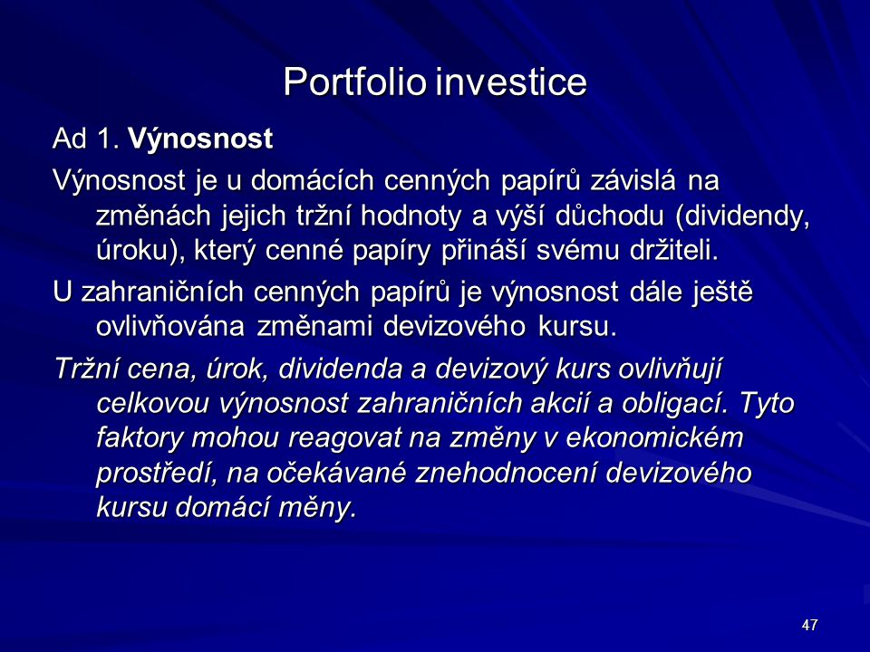Portfolio investice