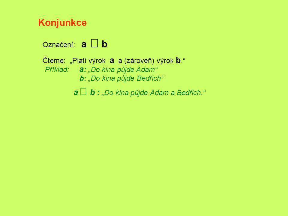 """Konjunkce Označení: a Ù b Čteme: """"Platí výrok a a (zároveň) výrok b."""