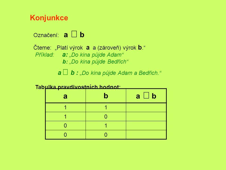 Konjunkce a b a Ù b Označení: a Ù b