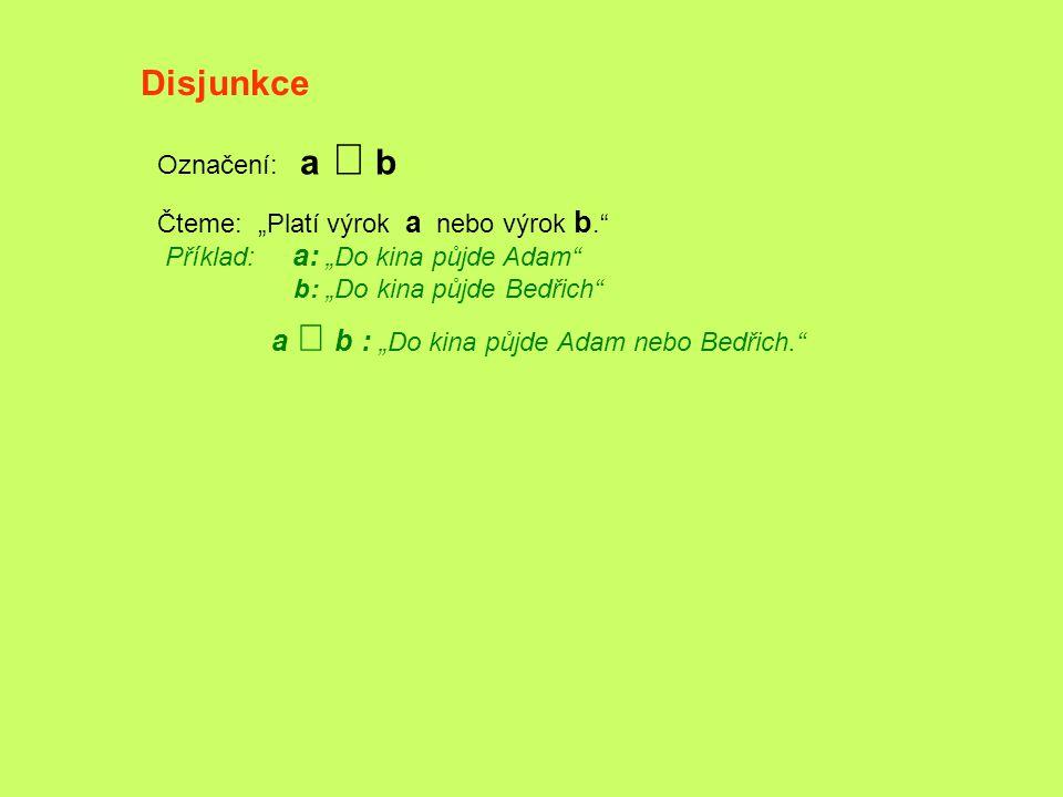 """Disjunkce Označení: a Ú b Čteme: """"Platí výrok a nebo výrok b."""