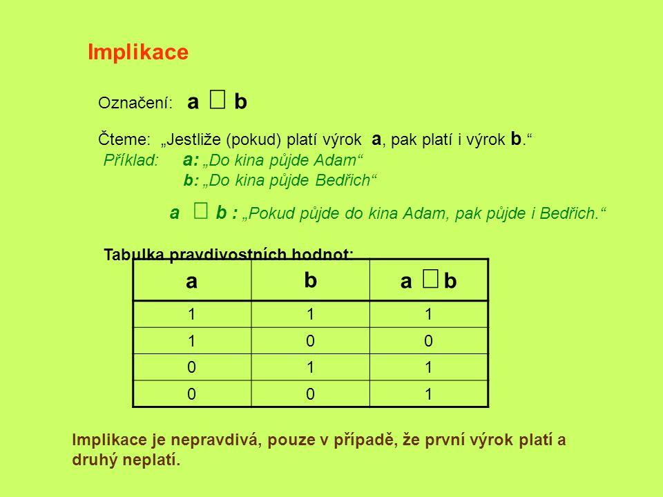 Implikace a b a Þ b Označení: a Þ b