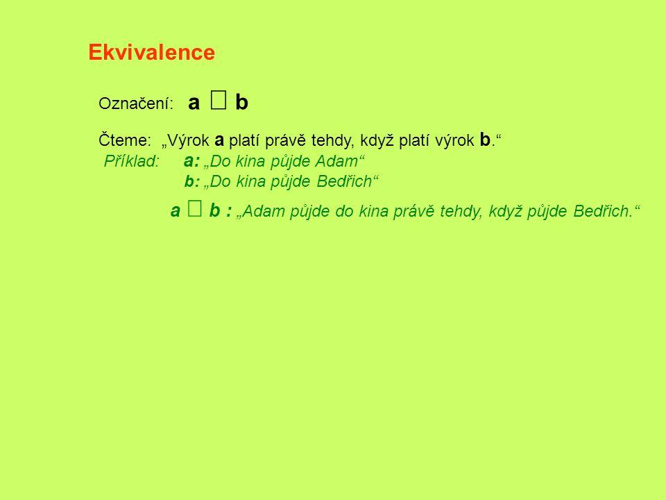 Ekvivalence Označení: a Û b