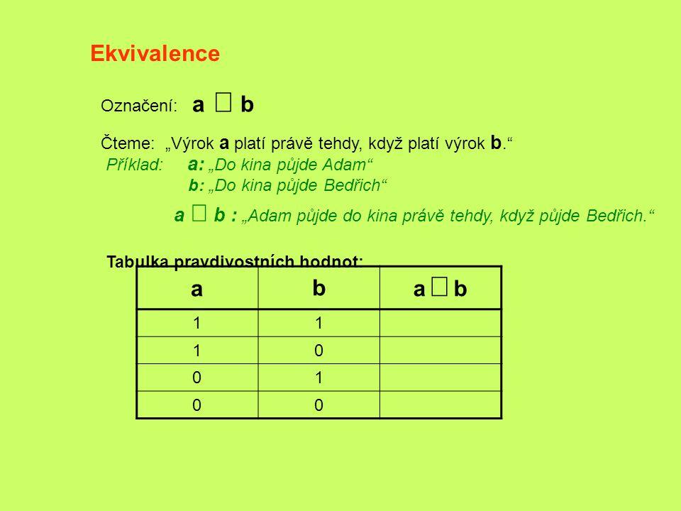 Ekvivalence a b a Û b Označení: a Û b