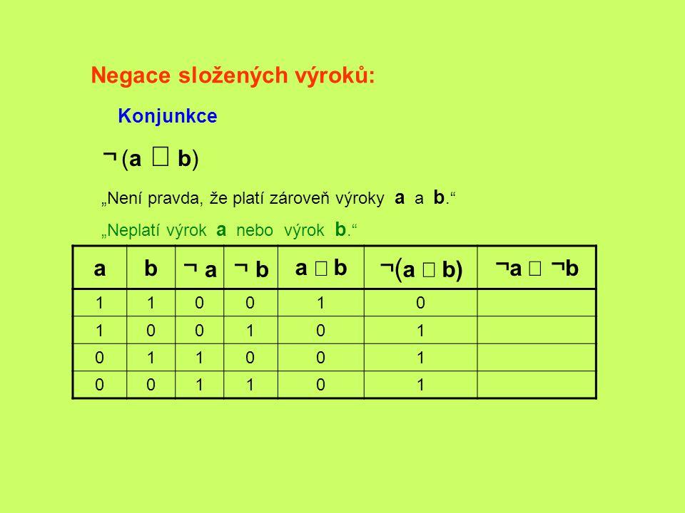 ¬ (a Ù b) ¬ a ¬ b ¬(a Ù b) ¬a Ú ¬b Negace složených výroků: a b a Ù b