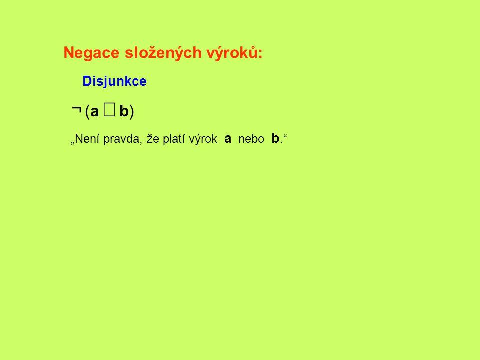¬ (a Ú b) Negace složených výroků: Disjunkce