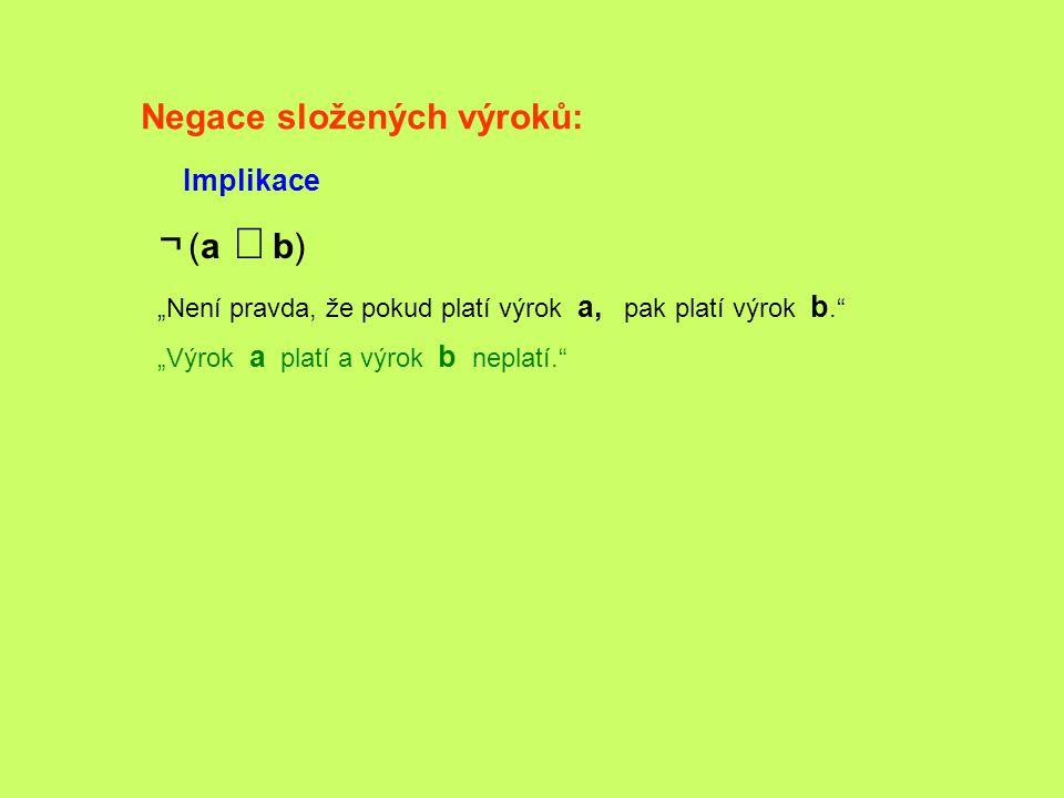 ¬ (a Þ b) Negace složených výroků: Implikace
