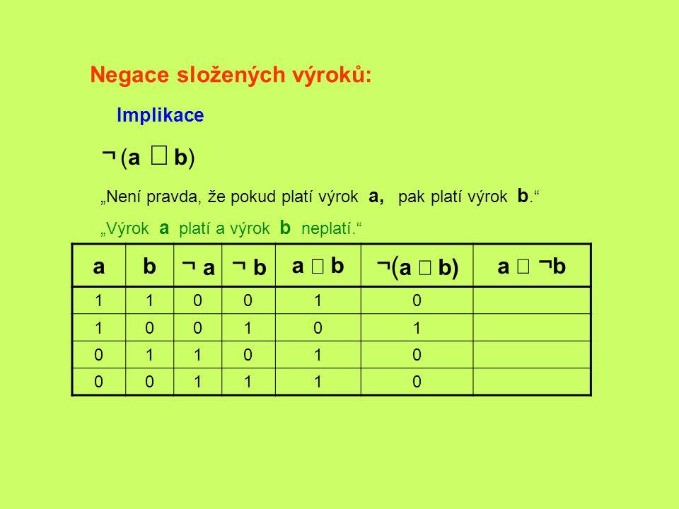 ¬ (a Þ b) ¬ a ¬ b ¬(a Þ b) Negace složených výroků: a b a Þ b a Ù ¬b