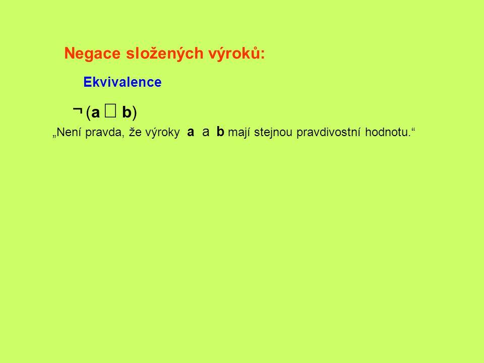 ¬ (a Û b) Negace složených výroků: Ekvivalence