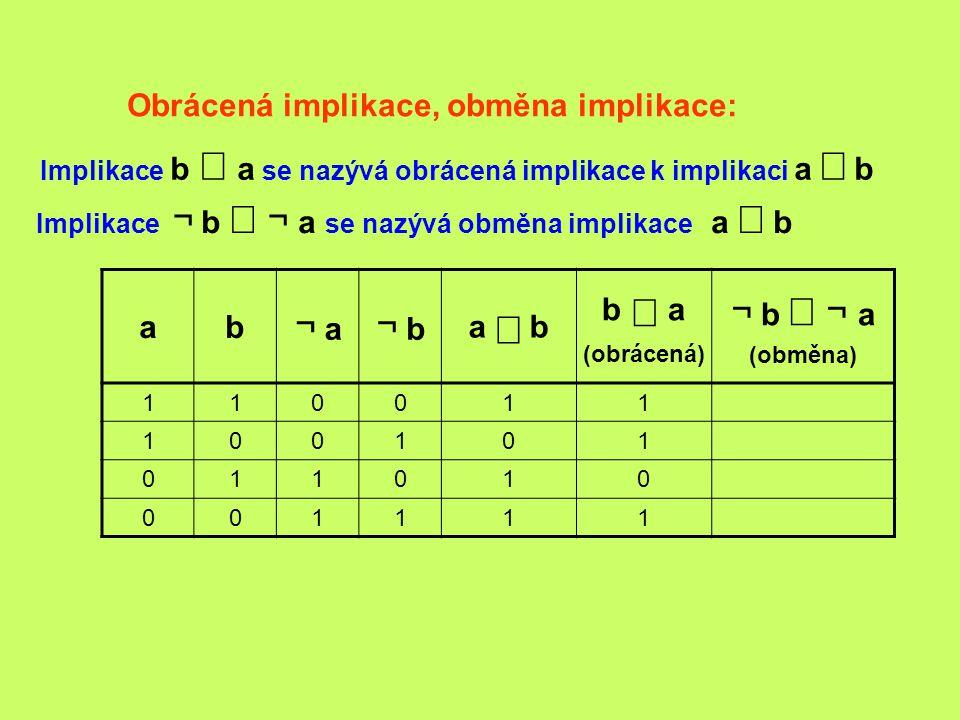 ¬ a ¬ b ¬ b Þ ¬ a Obrácená implikace, obměna implikace: a b a Þ b