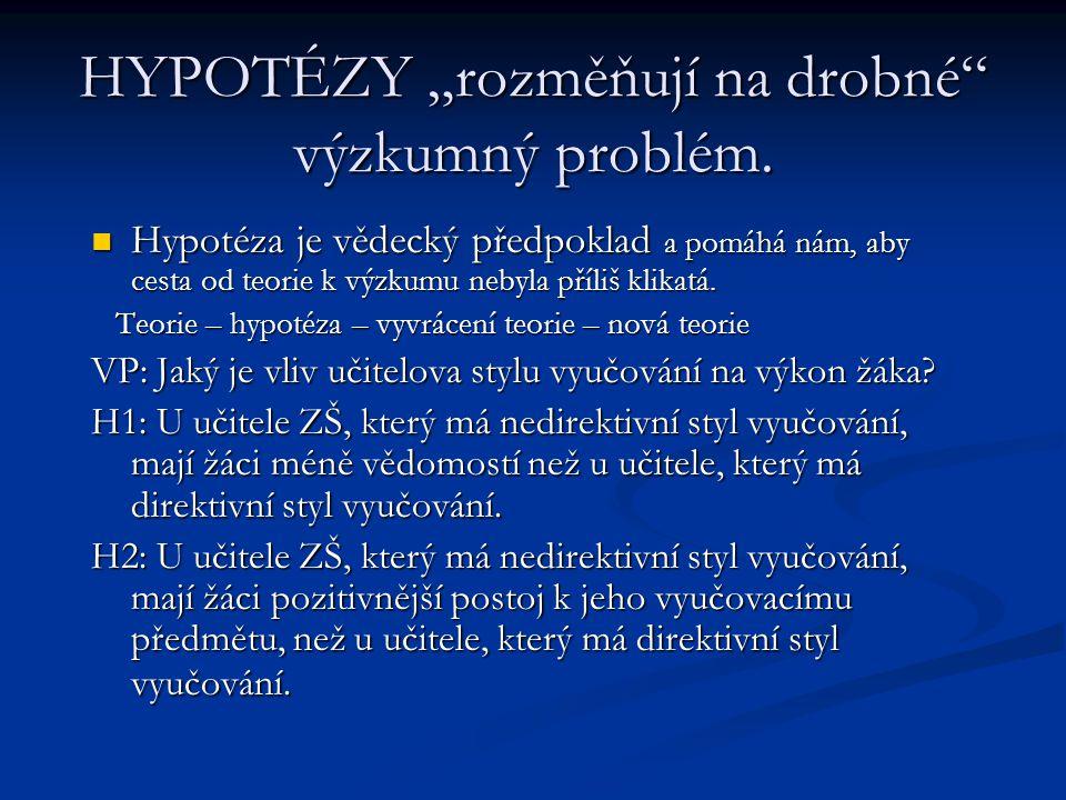 """HYPOTÉZY """"rozměňují na drobné výzkumný problém."""