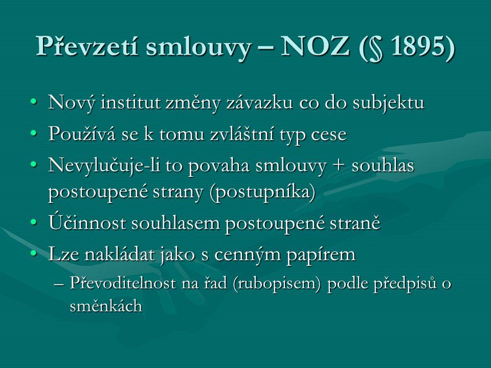Převzetí smlouvy – NOZ (§ 1895)