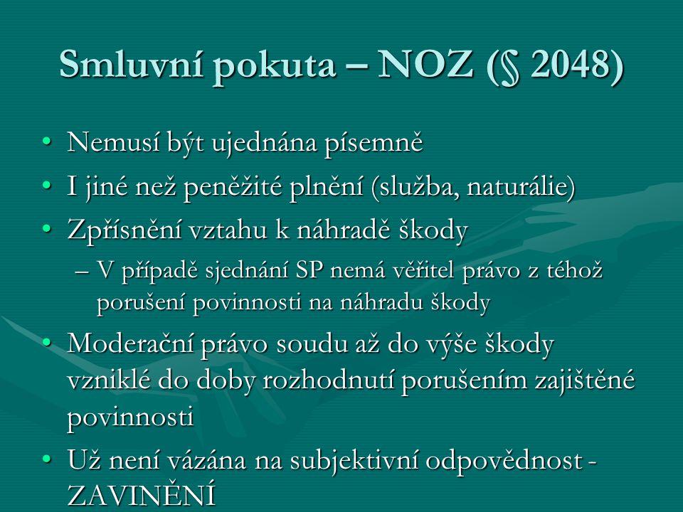 Smluvní pokuta – NOZ (§ 2048)