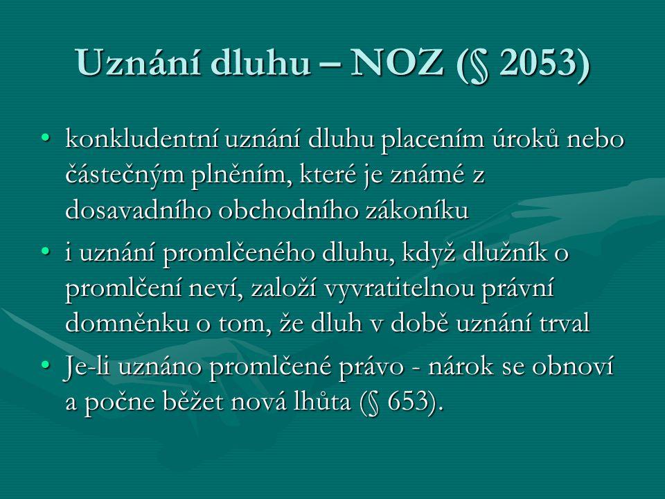 Uznání dluhu – NOZ (§ 2053) konkludentní uznání dluhu placením úroků nebo částečným plněním, které je známé z dosavadního obchodního zákoníku.