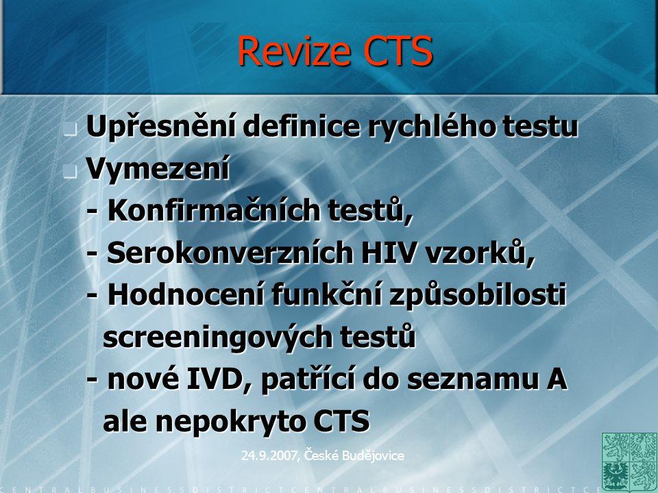 Revize CTS Upřesnění definice rychlého testu Vymezení