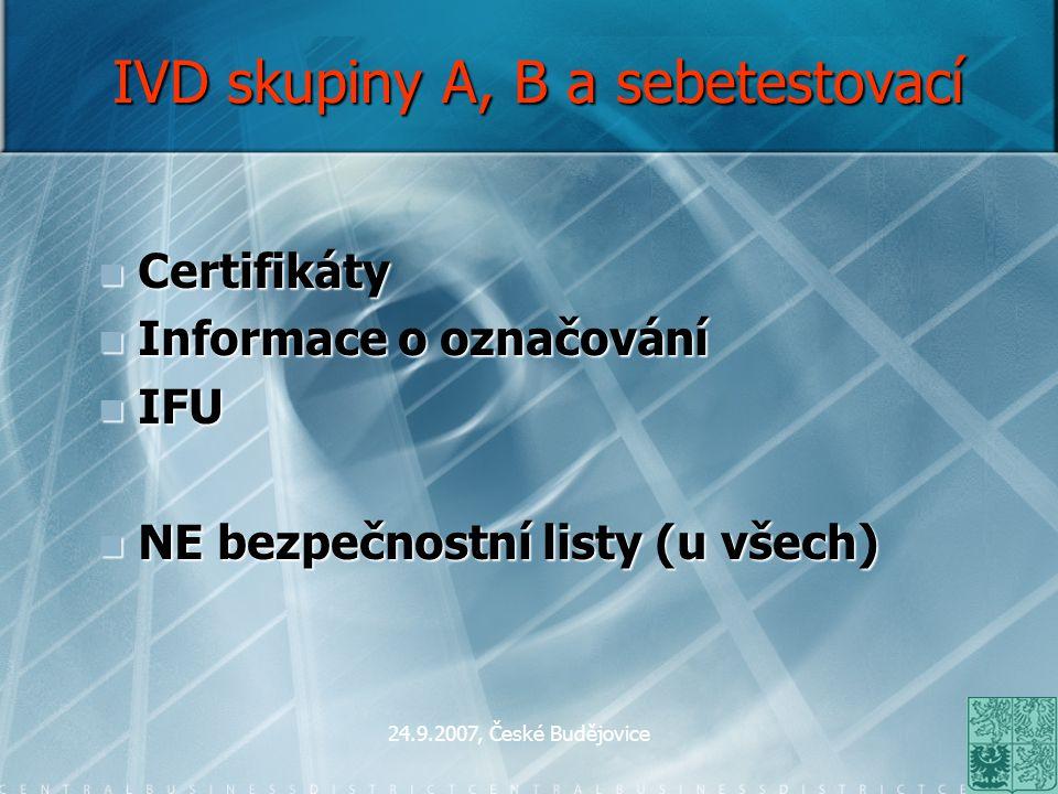 IVD skupiny A, B a sebetestovací