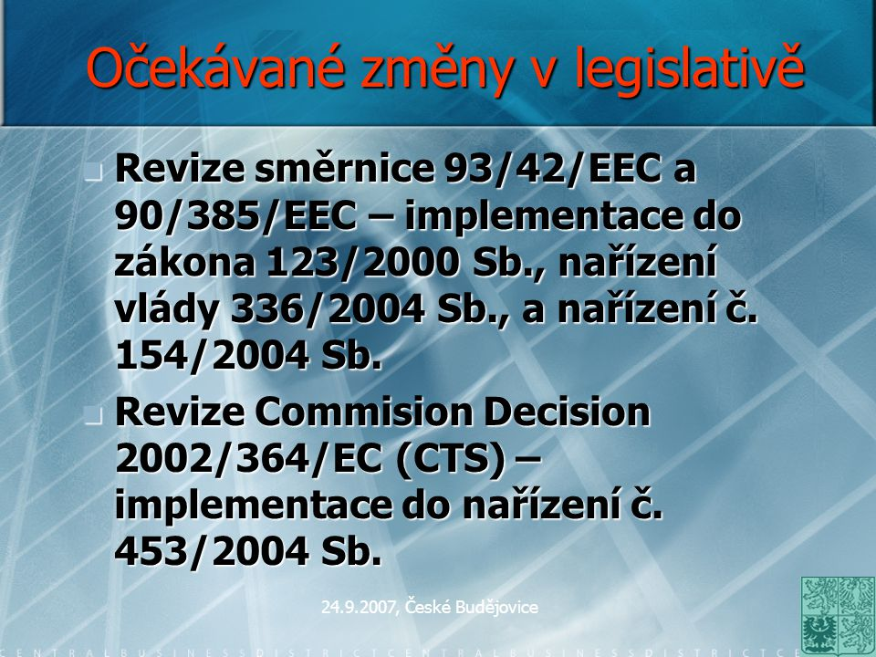 Očekávané změny v legislativě