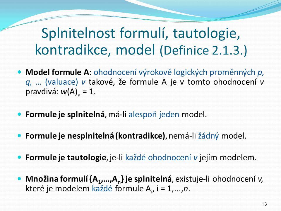 Splnitelnost formulí, tautologie, kontradikce, model (Definice 2.1.3.)
